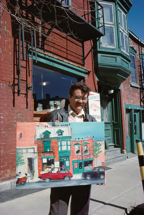 Robert Walker, Amateur artist with painting of his house, rue Sainte-Catherine est, 1989