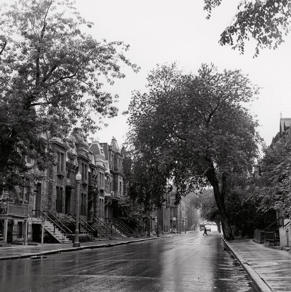 David Miller, Looking North on Hutchison St. from Milton St., 14 July 1971, de la série / from the series Milton Park, 1970-1973, épreuves argentiques virées au sélénium / silver prints with selenium toning