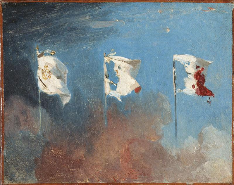 Léon Cogniet, Les Drapeaux, 1830, oil on canvas / huile sur toile, 19 × 24 cm, Musée des Beaux-Arts, Orléans