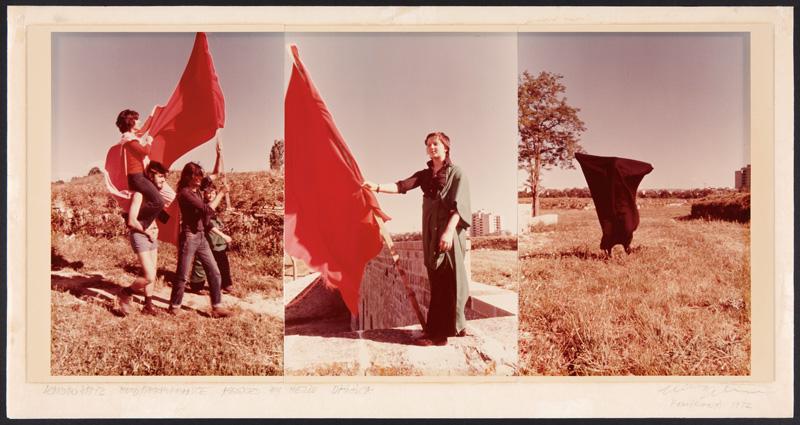 Hélio Oiticica and/et Leandro Katz, Parangolé – Encuentrosde Pamplona (Encounters in Pampeluna), 1972 colour print on paper and card / impression couleur sur papier et carton 24 × 49 cm, Museo Nacional Centro de Arte Reina Sofía, Madrid