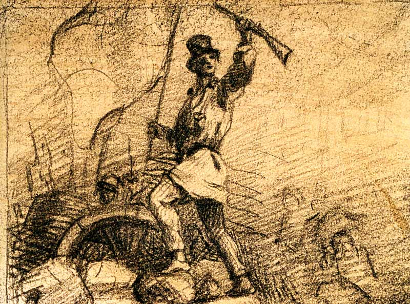 Gustave Courbet, Révolutionnaire sur une barricade, projet de frontispice pour « Le Salut public », 1848 charcoal on paper / fusain sur papier, 10 × 13 cm, Musée Carnavalet – Histoire de Paris, Paris