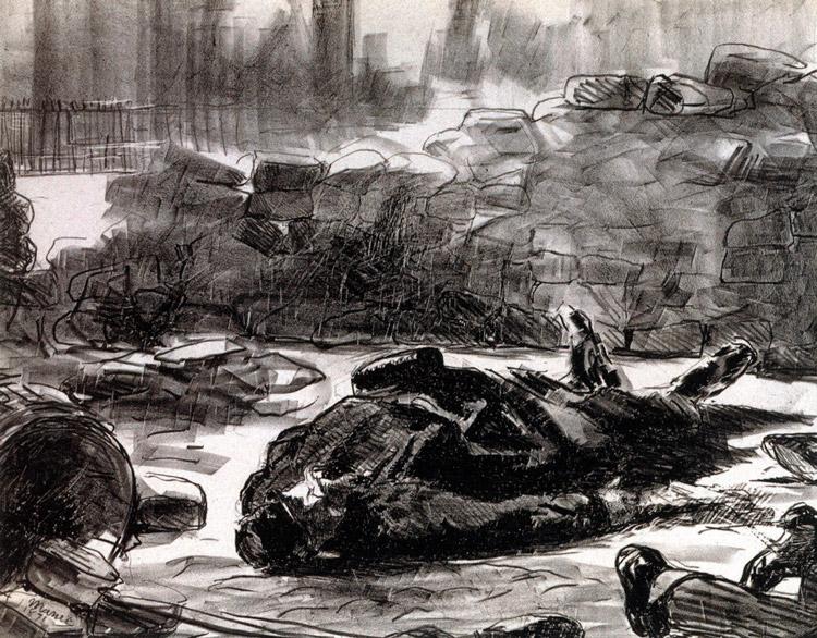 Édouard Manet, Guerre civile, 1871, two-tone lithograph on thick paper / lithographie en deux tons sur papier épais, 47 × 53 cm, Musée Carnavalet – Histoire de Paris, Paris