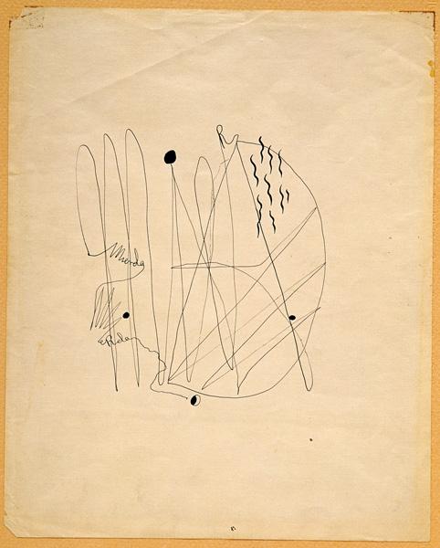 Federico Garcia Lorca, Mierda, 1934, calligram in India ink / calligramme à l'encre de Chine, 25 × 25 cm, Fundación Federico García Lorca, Madrid