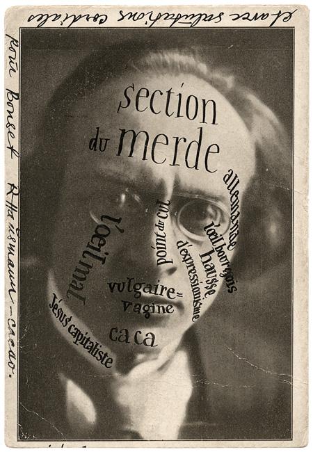 Raoul Hausmann, Portrait d'Herwarth Walden à Bonset, 1921 postcard sent by /carte postale envoyée par Raoul Hausmann à/to Theo van Doesburg 14 × 9 cm, Theo and Nelly van Doesburg Archive RKD – Netherlands Institute for Art History, Den Haage