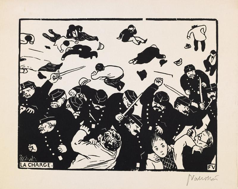 Félix Vallotton, La Charge, 1893, proof, woodcut on paper / estampe épreuve, bois gravé sur papier, 19 × 26 cm, Musée National d'Art Moderne Centre Pompidou, Paris