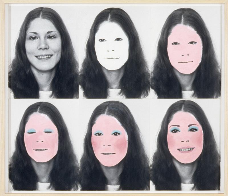 Suzy Lake, A Genuine Simulation of . . . No. 2, 1974, maquillage sur photographie noir et blanc / make-up on black-and-white photograph, 70 × 83 cm. Collection d'art canadien du Musée des beaux-arts de Montréal / The Montreal Museum of Fine Arts.