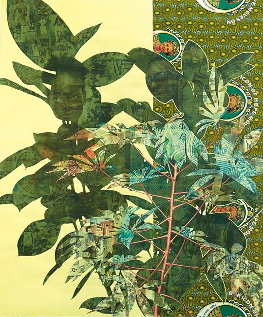 Njideka Akunyili Crosby, Cassava Garden, 2015, médias mixtes sur papier, 192 × 160 × 7 cm, permission de Victoria Miro, London