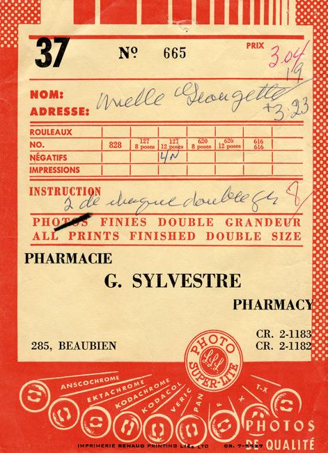Michel Campeau, Mlle Georgette | Pharmacie G. Sylvestre, c. 1960, 2014, impression couleur / colour print, 75 × 56 cm
