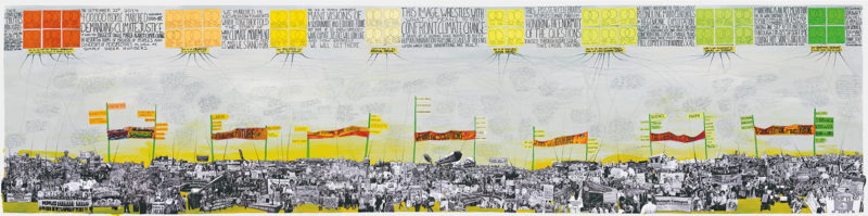 Rachel Schragis, Confronting the Climate: A Flowchart of the People's Climate March, 2014–16, collage mix-médias, 90 × 370 cm