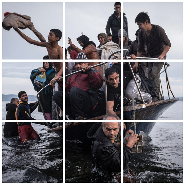 Sergey Ponomarev, Refugees arrive by a Turkish boat near the village of Skala, on the Greek Island of Lesbos, November 16, 2015, image numérique, 9 moniteurs, photographie originale © Sergey Ponomarev for The New York Times