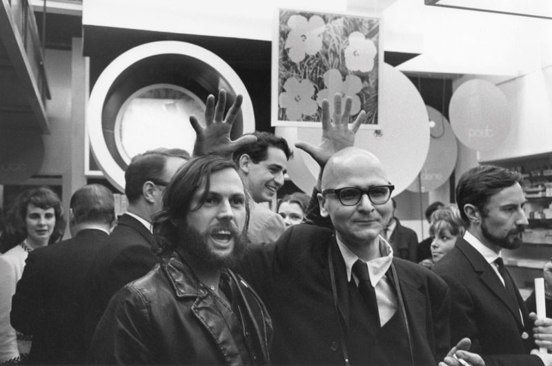 Gabor Szilasi, Armand Vaillancourt, John Max and François Dallegret (hands only) at the opening of the pharmacy- boutique Le Drug, Montreal, May 1965 / Armand Vaillancourt, John Max et François Dallegret (les mains seulement) à l'ouverture de la pharmacie-boutique Le Drug, Montréal, mai 1965