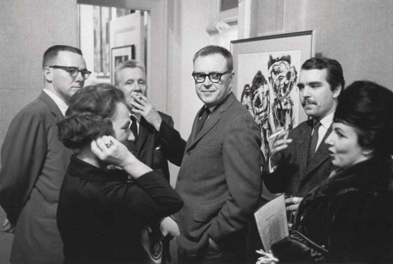 Gabor Szilasi, Jean McEwen at the opening of the Karel Appel exhibition at the Galerie Agnès Lefort, Montreal, October 1962 / Jean McEwen au vernissage de l'exposition de Karel Appel à la Galerie Agnès Lefort, Montréal, octobre 1962