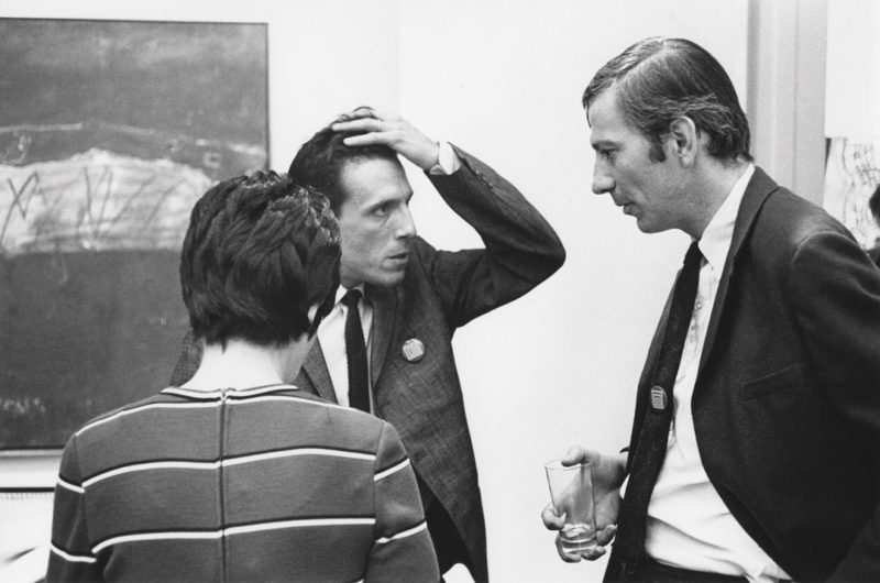 Gabor Szilasi, Jacques Folch-Ribas and Charles Gagnon at an opening at the Galerie Godard Lefort, Montreal, September 1968 / Jacques Folch-Ribas et Charles Gagnon lors d'un vernissage à la Galerie Godard Lefort, Montréal, septembre 1968