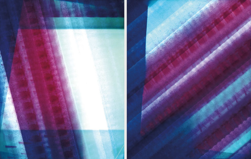 Janie Julien-Fort, Alimenter la machine 09 et 07, 2017, impressions couleur (photogramme), 36 × 28 cm