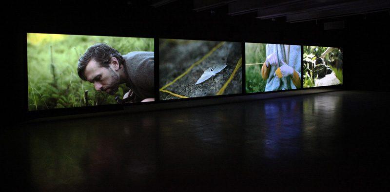 Jacynthe Carrier, PAYSAGE, 2017, installation vidéo 4 écrans HD couleur, sons, 17min en boucle