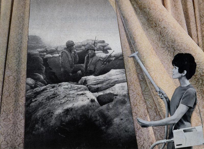 Martha Rosler, Cleaning the Drapes, de la série House Beautiful: Bringing the War Home, 19671972 ; Photo-Op, de la série House Beautiful: Bringing the War Home, New Series, 2004, photomontages, permission de l'artiste et de Mitchell-Innes & Nash, New York