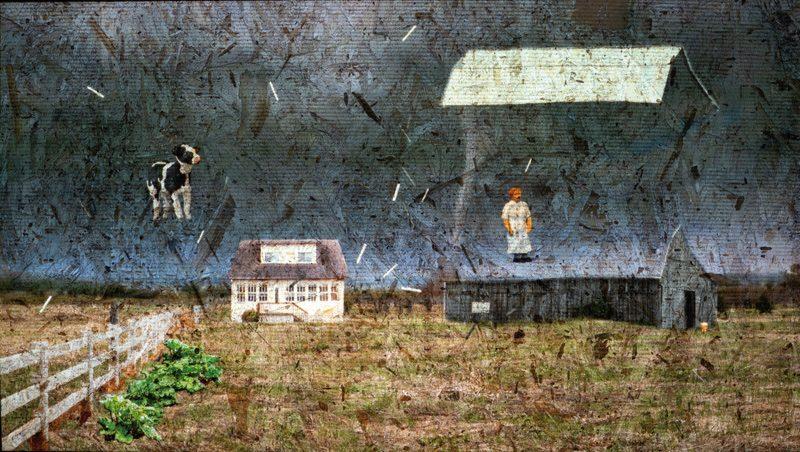 Myriam Jacob-Allard, Se faire emporter par le vent, 2019, projection vidéo sur panneau de copeaux de bois, 3 min, photo : Guy L'Heureux