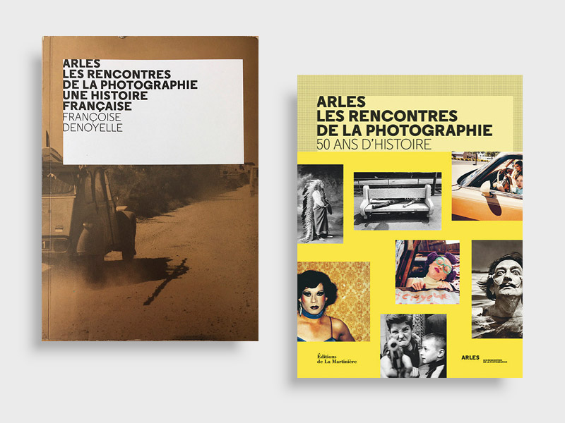 Françoise Denoyelle, Une histoire française, Paris, Les Rencontres d'Arles / Art Book Magazine 2019, 320 p. (ill. n&b) | Françoise Denoyelle et Sam Stourdzé, 50 ans d'histoire, Paris, La Martinière, 2019, 278 p. (ill. couleur)